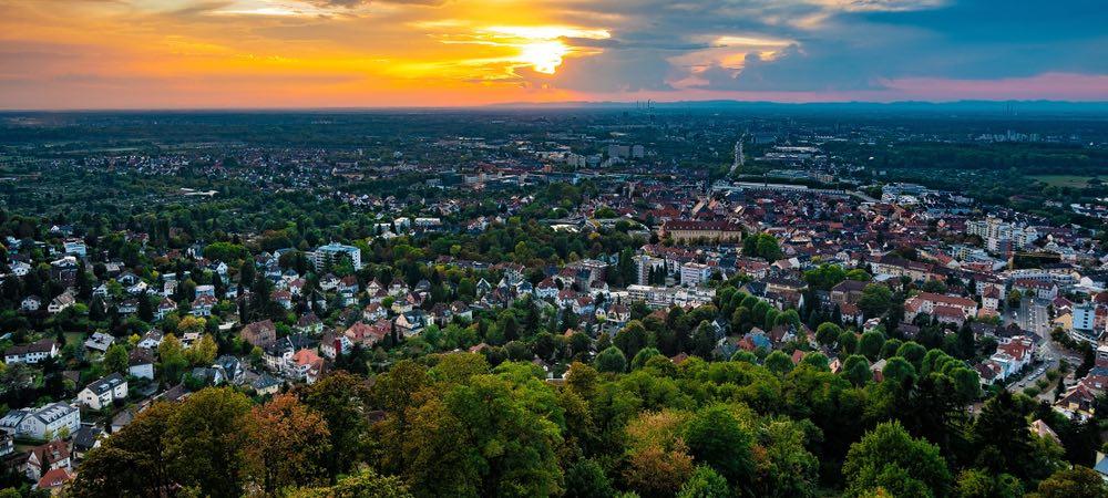 uitzicht over de stad Karlsruhe